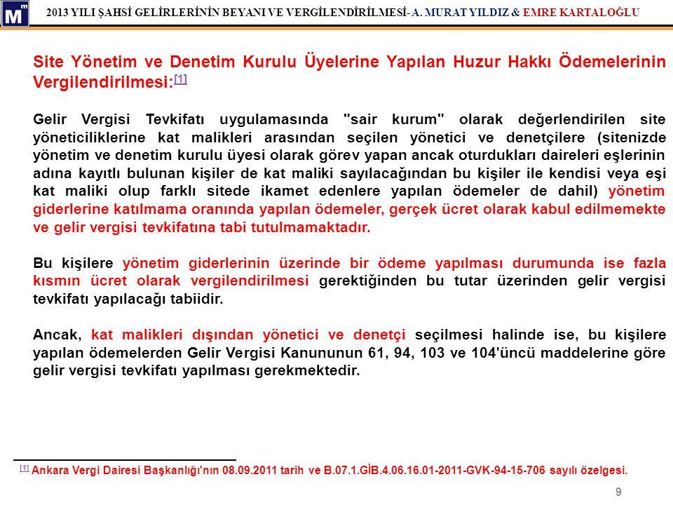 Site Yönetim ve Denetim Kurulu Üyelerine Yapılan Huzur Hakkı Ödemelerinin Vergilendirilmesi:[1]